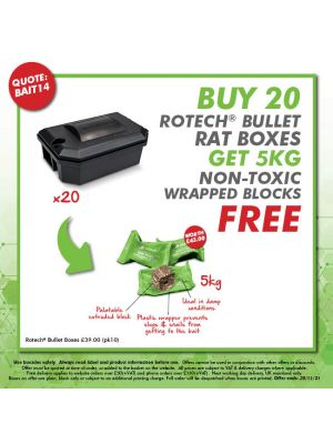 BAIT14 - Buy 20 Bullet Rat Boxes - Get 5kg Non-Tox Wrapped Blocks FREE