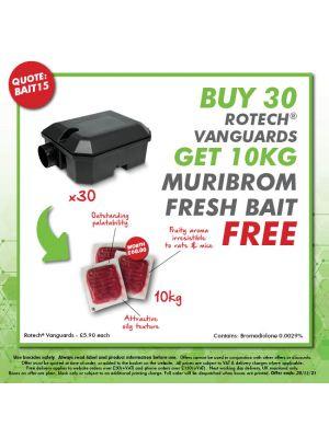 BAIT15 - Buy 30 Vanguard rat boxes - Get 10kg Muribrom fresh bait FREE