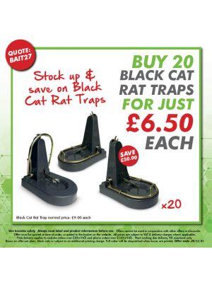 BAIT27 - Buy 20 Black Cat Rat Traps for just £6.50 each!
